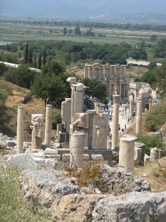 Ephesus main street looking towards the library.
