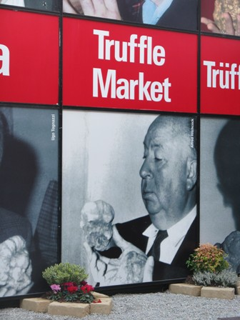 Alfred Hitchcock loved his truffles. At Alba's International Truffle Market in the Piemonte.