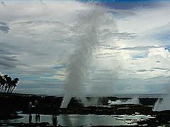 Blowhole at Taga on a rough sea day.