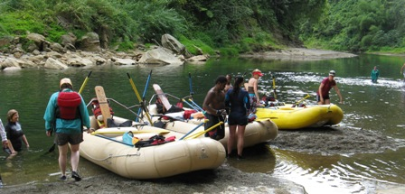 Rafting group on Upper Navua River Viti Levu.