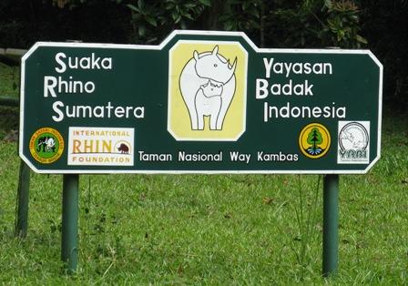 Way Kambas Sumatran Rhino Foundation sign.