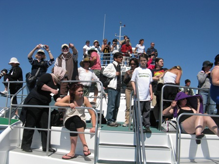 Whale watchers on Hervey Bay.