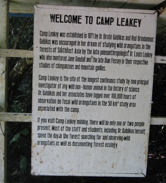 Welcome sign at Camp Leakey.