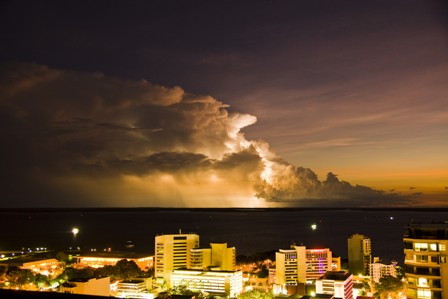 Darwin at night during the Wet monsoon season. Best place anywhere to see lightning storms.