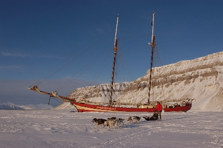 At the 'Noorderlicht' frozen into Tempelfjord, Svalbard.