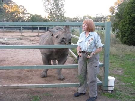 Helen Harris with Kwanze, the black rhino.