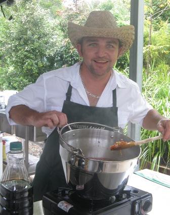 Jamie Milverton making jam at FreeStyle Escape outside Noosa.