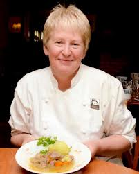 Mary Gleeson with a serving of Irish stew.