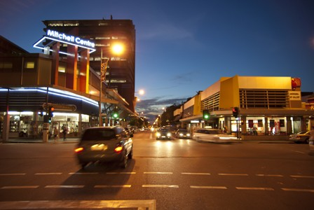 Downtown Darwin's Mitchell Street at dusk.