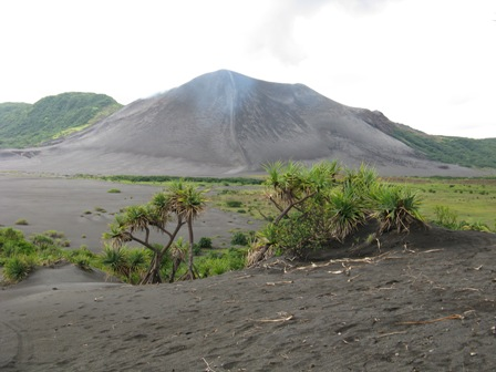 Mount Yasur on Tanna Island from a kilometre away on a low level eruption day.