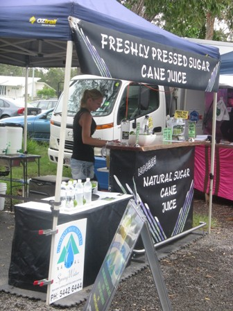 Noosa Farmers Market freshly squeezed sugar cane juice for sale.