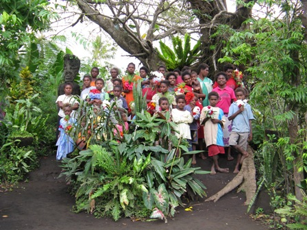 Tanna Island villagers make wonderful welcoming committees. Near Sulphur Bay.
