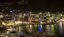 Lambton Quay Wellington's waterfront at night.