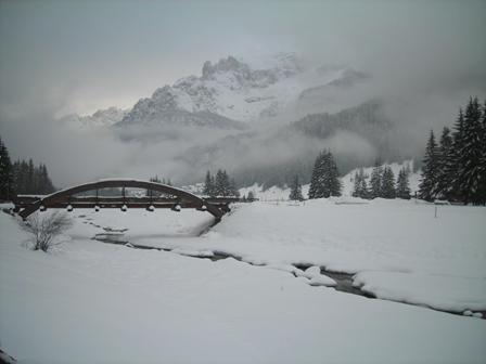 Canazei's bridge in winter. By Marisa Spiller.