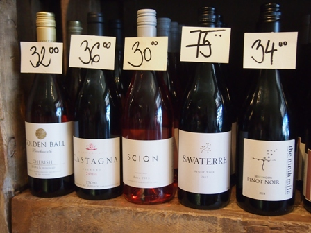 Local wines for sale at Cellar Door Wine Shop