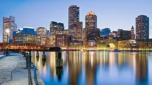 Downtown Boston evening view