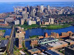 Boston overview, Royal Sonesta hotel in foreground overlooking Charles River
