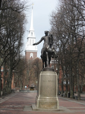 Paul Revere statue in North End park
