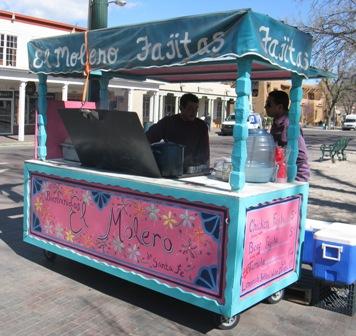Fajitas stall in Santa Fe's main town square.