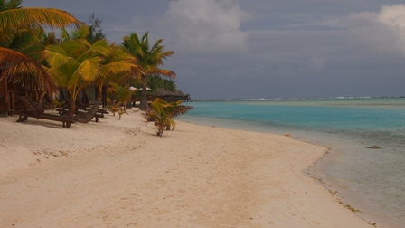 Typical Aitutaki beach and lagoon scene