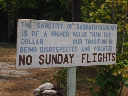 No Sunday Flights Aitutaki protest sign