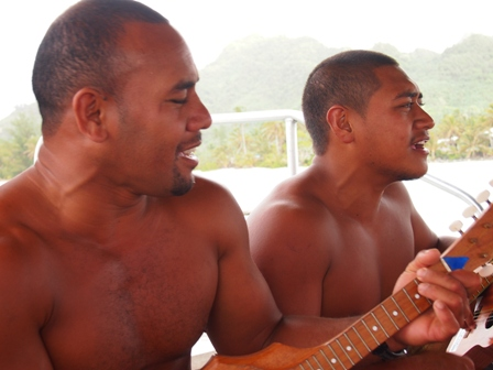 Captain Awesome and Captain Amazing singing during Koka Lagoon cruise