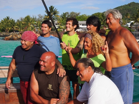 Marumaru Atua crew members. Clockwise from top left: Tefini Pekapo, Malik, Alex Olon, Captain Peia Pataia, Tua Pittman, Erena Young, Noel Pittman and Thomas Wynne