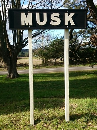 Musk railway station sign