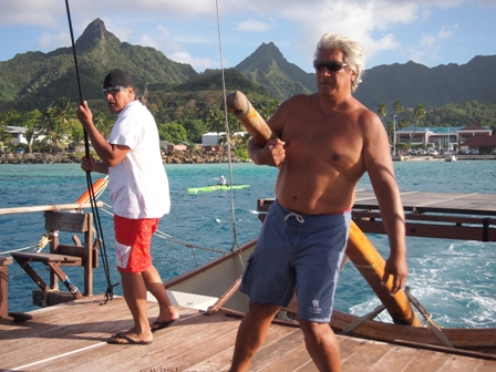 Noel and Tua Pittman leaving Avarua on board Marumaru Atua