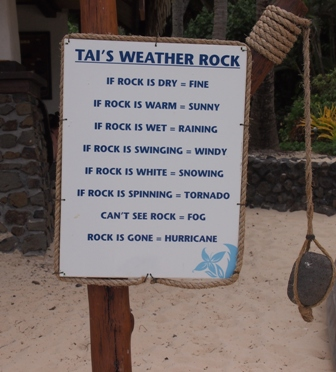 Tai's weather rock at Muri beach