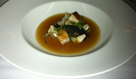 The Argus: Red Roast Chicken, Oysters, Avruga, Congee and Mushroom entree