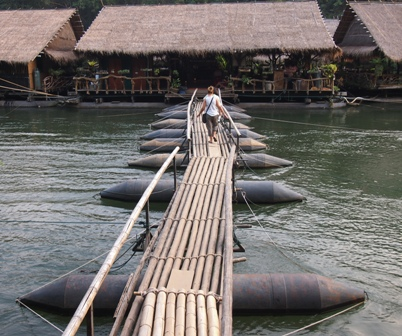 Bridge connecting River Kwai Jungle Raft camp with Mon village