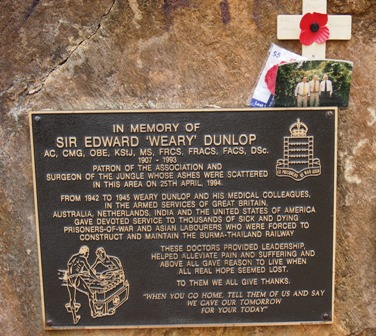 'Weary' Dunlop plaque at Hellfire Pass, one of many heroes