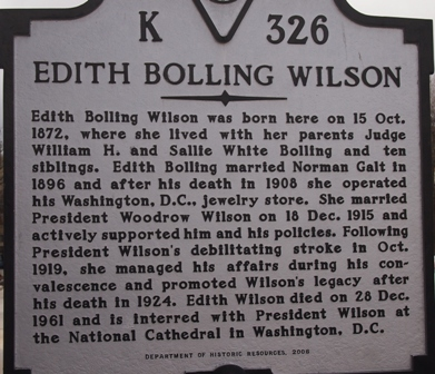 Edith Bolling Wilson sign marking her birthplace