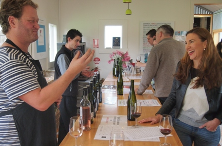 Michael Dal Zotto and customers at the family cellar door