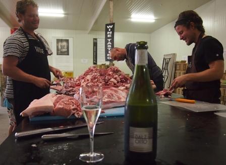 Salami preparation at Dal Zotto