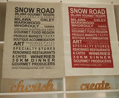 Snow Road Produce tea towels display