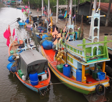 Boats moored at Sam Roi Yod fishing village