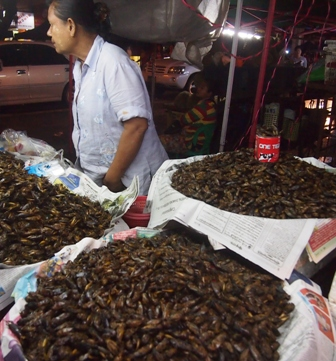 Fried crickets for sale at street stall
