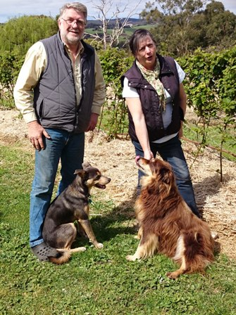 Mike and Katrine Juleff with Rusty and Bailey at Pennyroyal Raspberry Farm