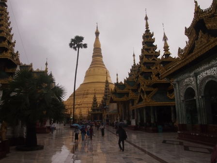 Shwe Dagon Pagoda under monsoon skies