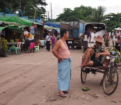 Yangon wharf cyclo driver