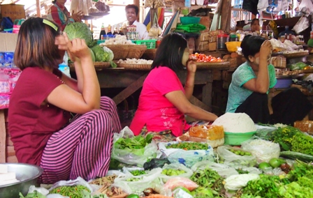 Competing 'brides' at Pakokku market