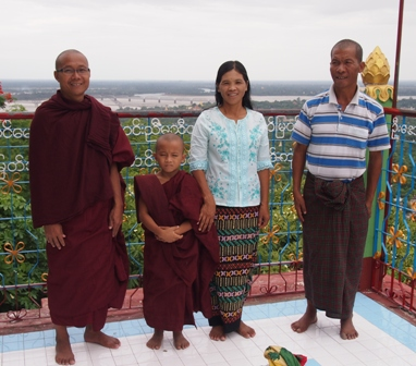 Family with young novice at Sagaing