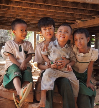 Children laughing at Nwe Nyein village