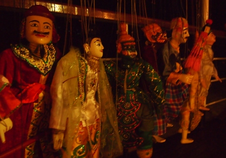 Puppets on board RV Orient Pandaw after show