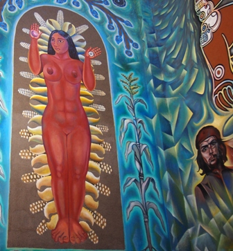 Lake Goddess mural in Ajijic Town Hall