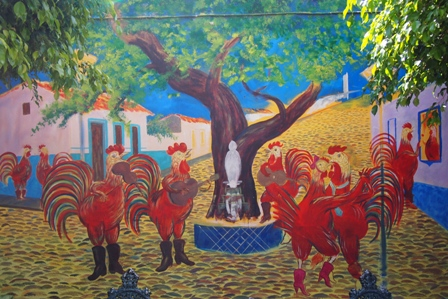 Chicken mariachi band mural