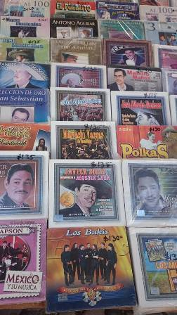 CDs for sale at tianguas