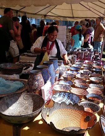 Feria artist with ceramics